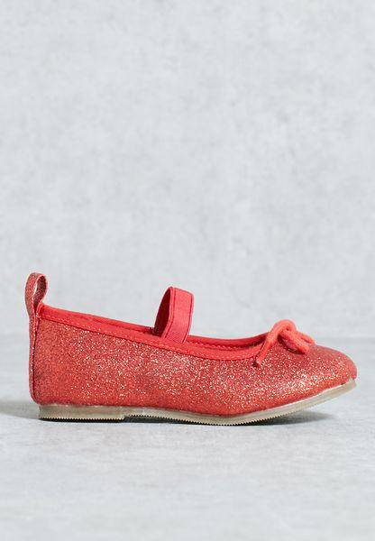 Glitter Ballet Pump Red