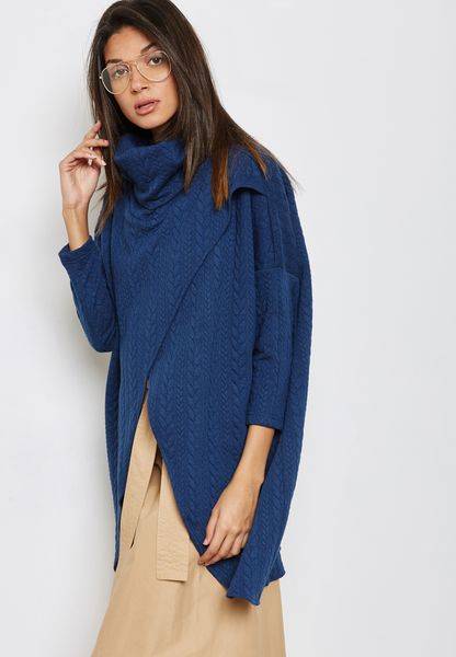 Wrap Front High Neck Cardigan