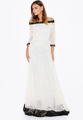 Anaya Embellished Trim Lace Bardot Dress