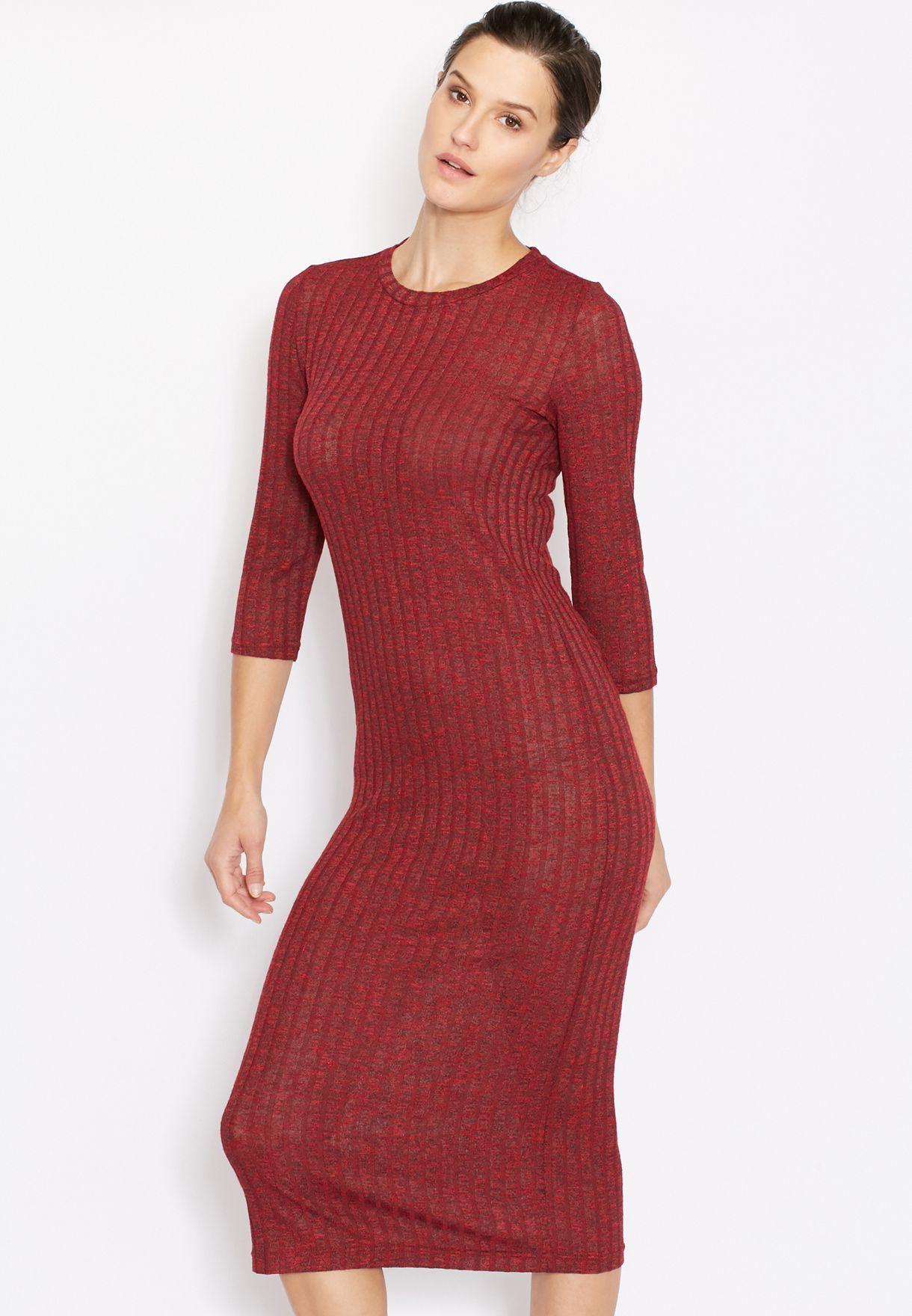 9c51820f74b8 Shop Mango red Ribbed Midi Dress 73023547 for Women in UAE ...