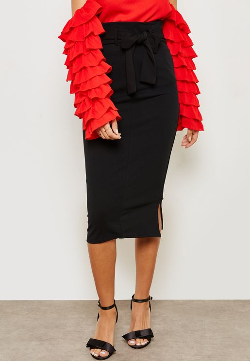 Tie Waist Midi Pencil Skirt