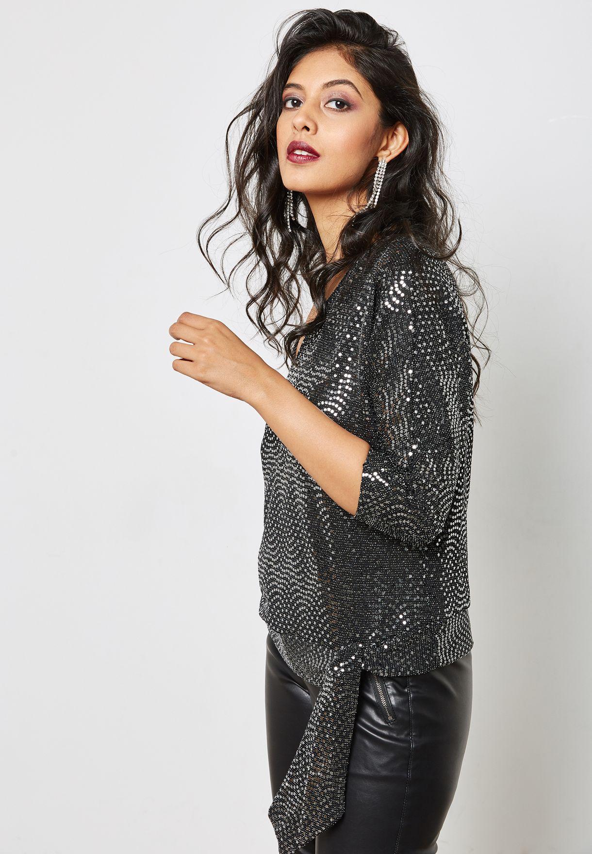 0f3c2505130095 Shop Wallis Petite black Front Tie Sequin Top 098101001 for Women in Qatar  - WA008AT49CNQ