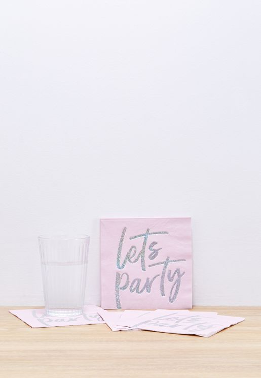 16 Lets Party iridescent Napkins