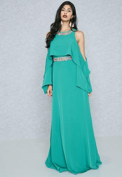 Embellished Ruffle Cold Shoulder Dress