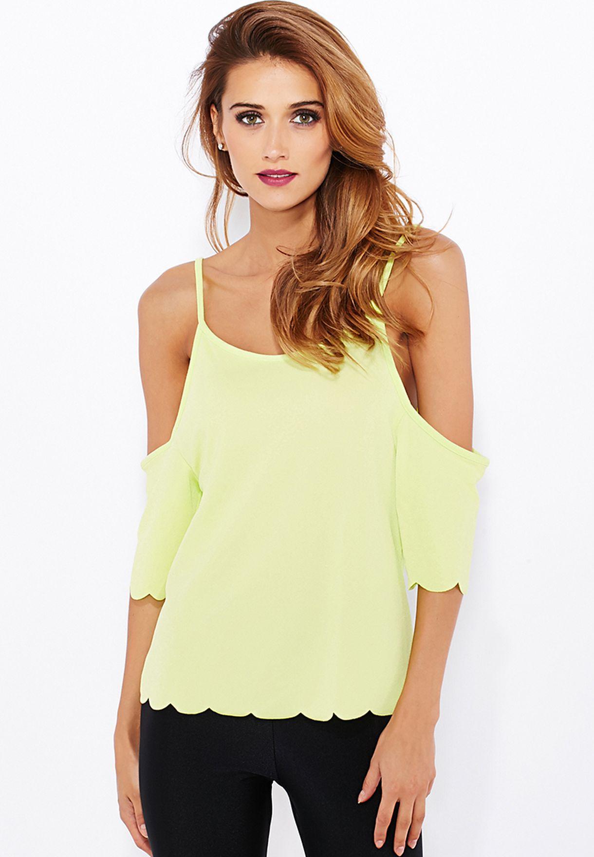 cb7b10e8a86b Shop Boohoo yellow Scallop Hem Open Shoulder Top AZZ08722 for Women ...