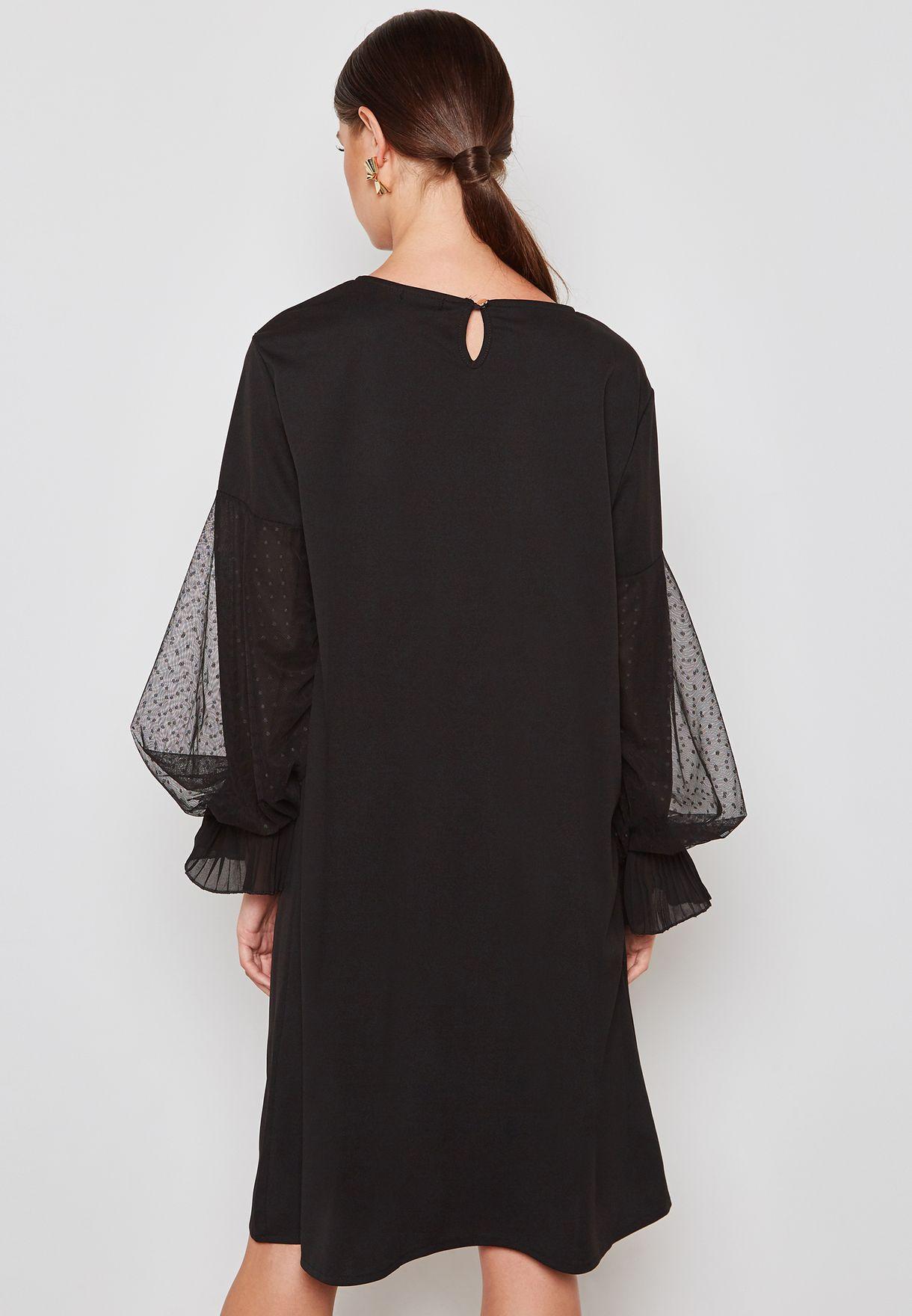 Dotted Lace Puffed Sleeve Midi Dress