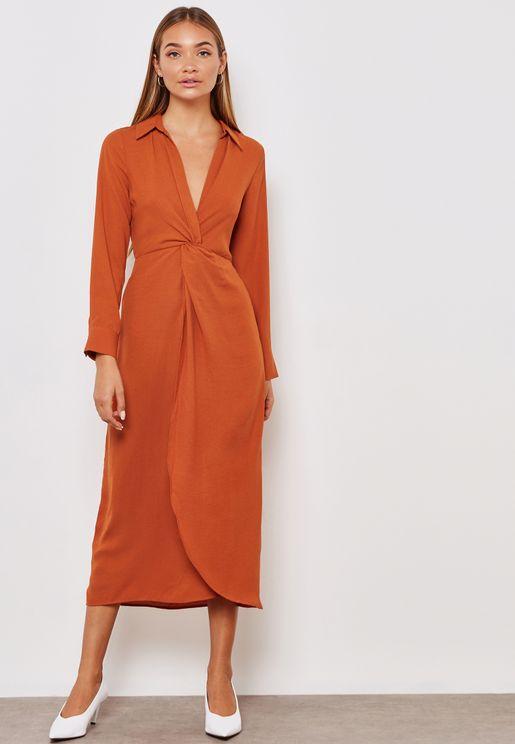 Front Twisted Long Sleeve Shirt Midi Dress