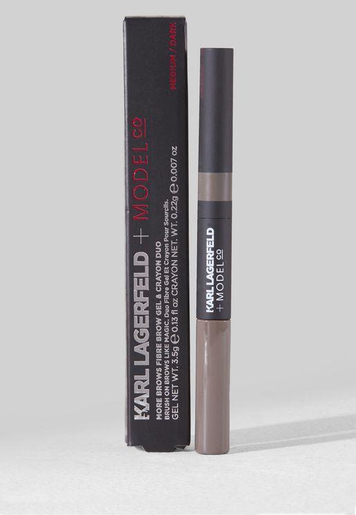 قلم حواجب + جل مور براوز فايبر متوسط داكن