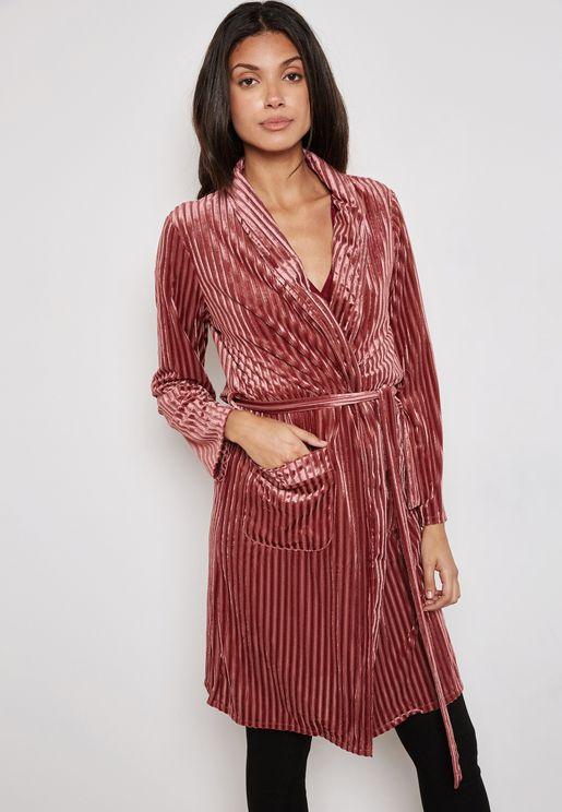 Striped Longline Velvet Kimono
