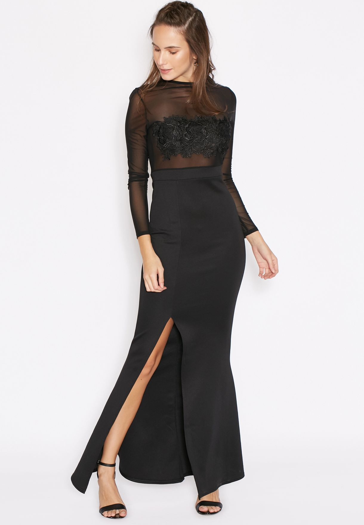 04d0afb6a2 Shop Missguided black Mesh Top Applique Maxi Dress for Women in ...