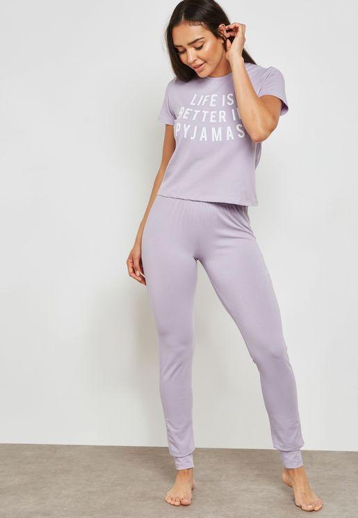 Slogan Pyjama Set