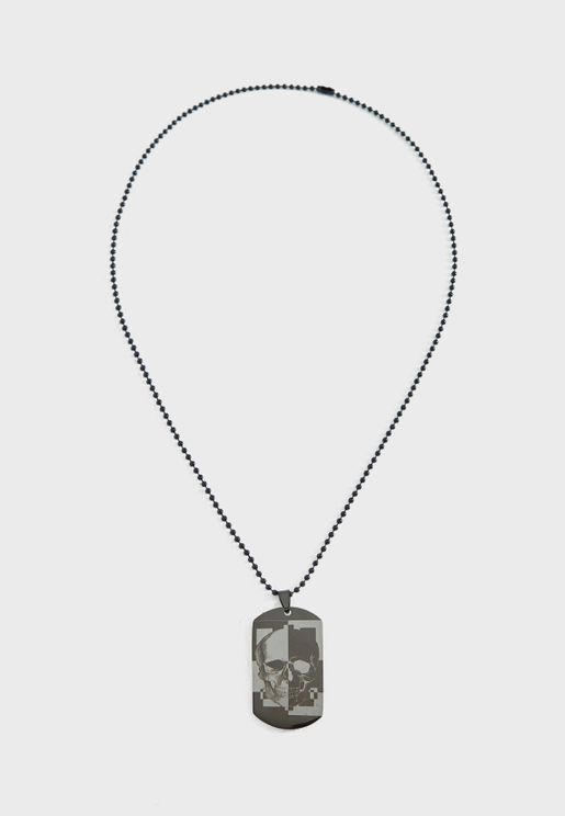 Skull Dog Tag Necklace