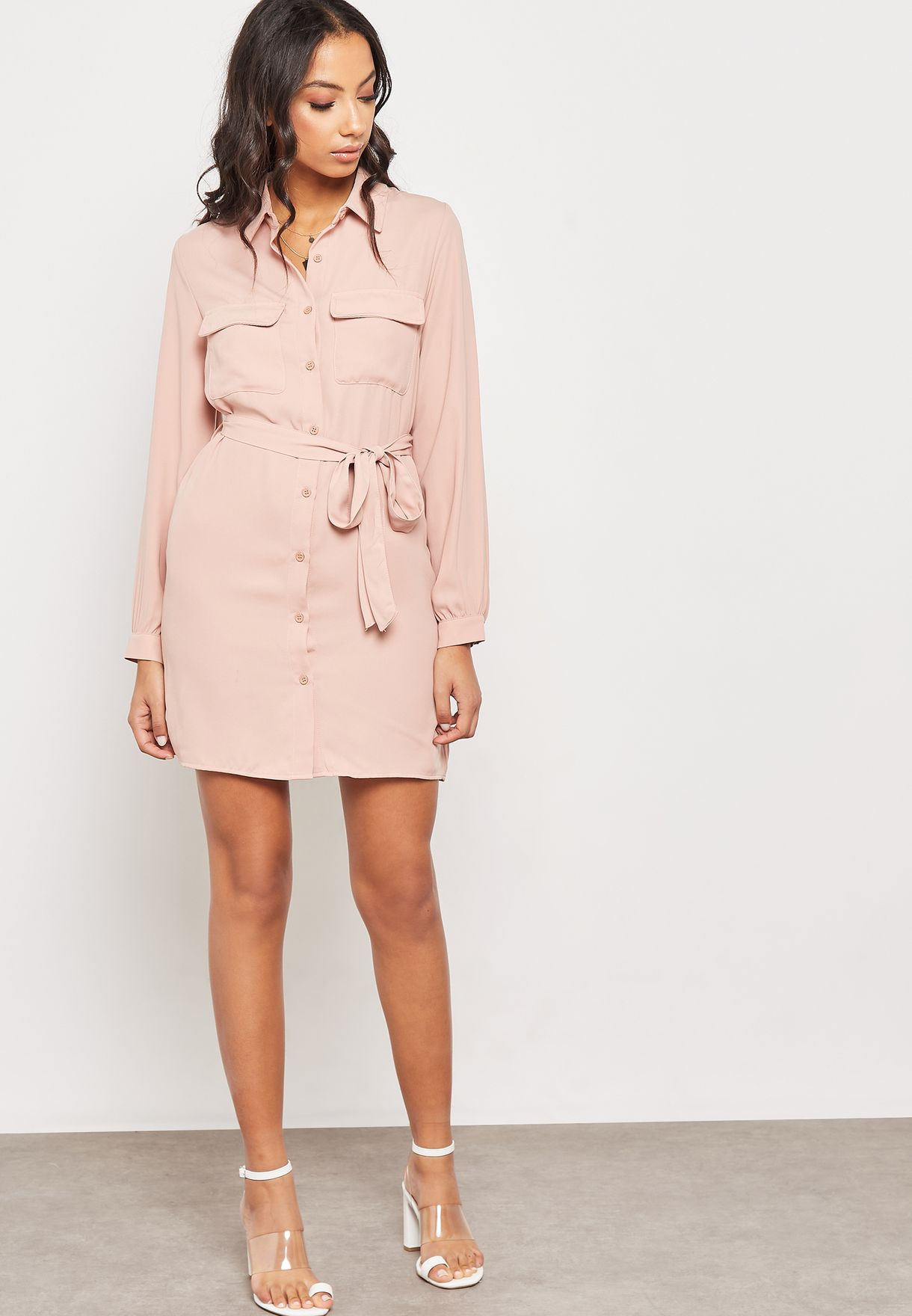 a6f30ca1c57 Shop Forever 21 pink Long Sleeve Shirt Dress 301081 for Women in UAE ...