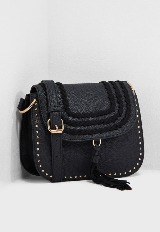 Plait Tassel Studed Crossbody