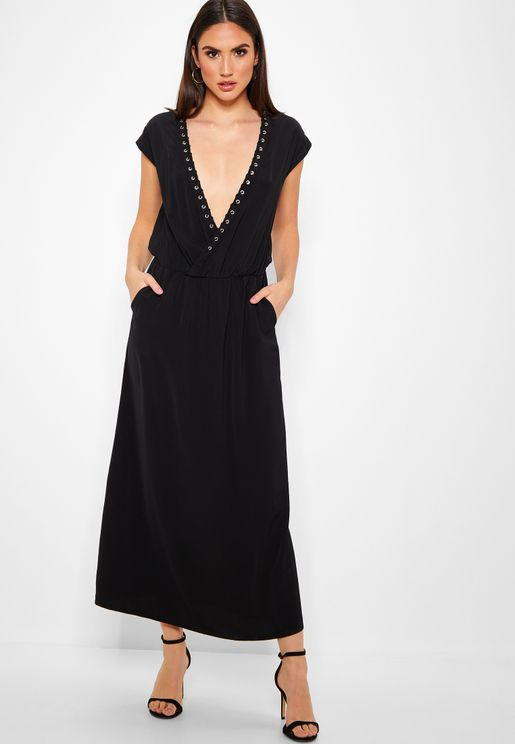 Eyelet Trim Wrap Front Maxi Dress