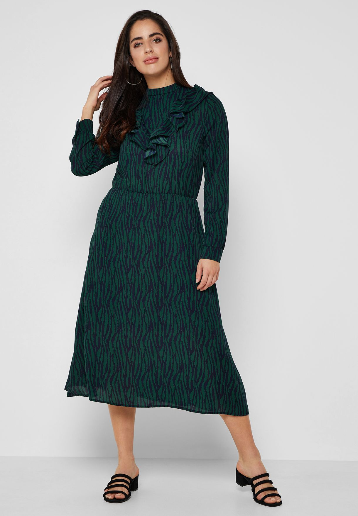 Zebra Print Ruffle Paneled Midi Dress