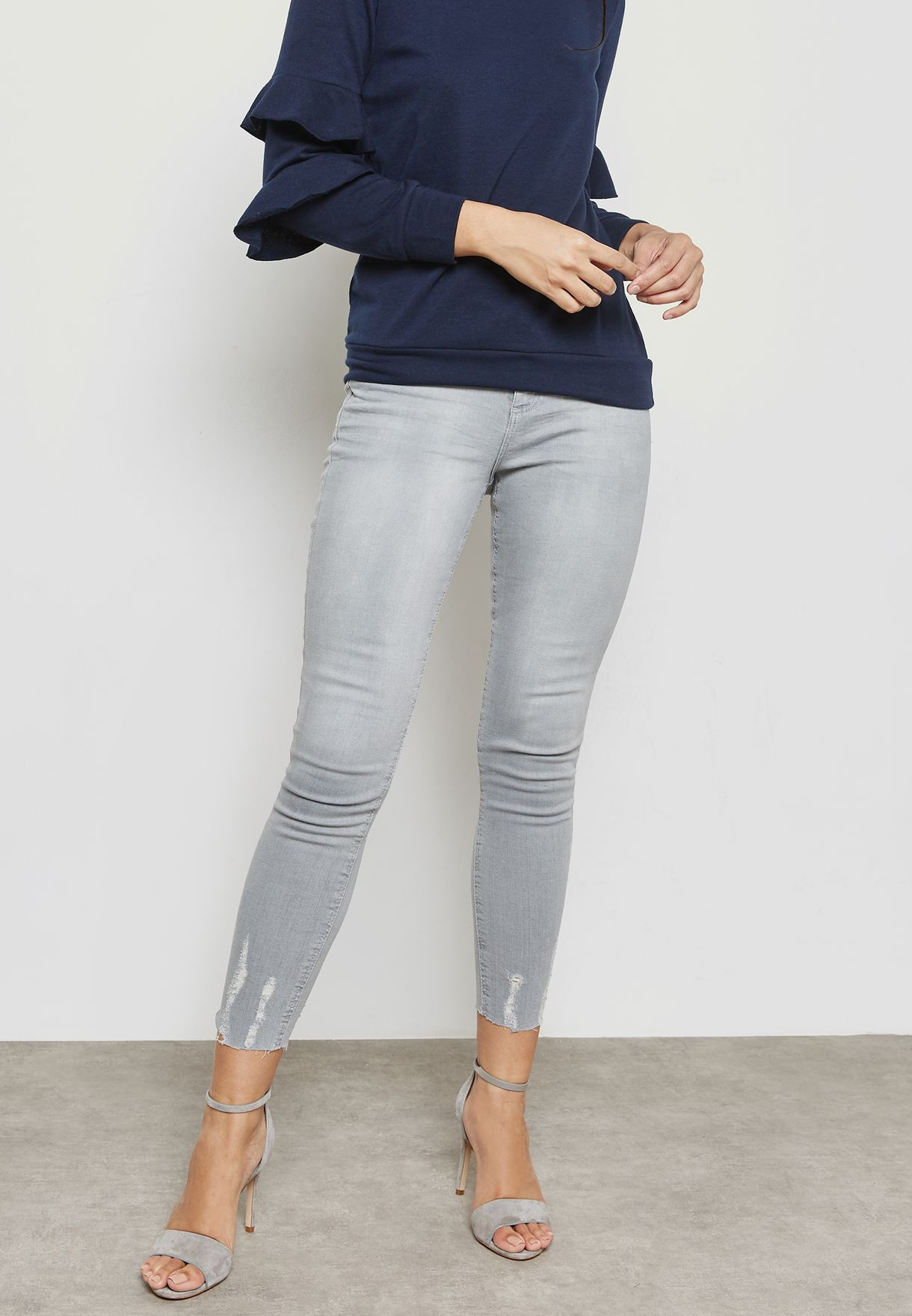 Ankle Grazer Ripped Skinny Jeans