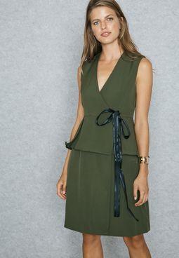 Wrap Front Self Tie Peplum Dress