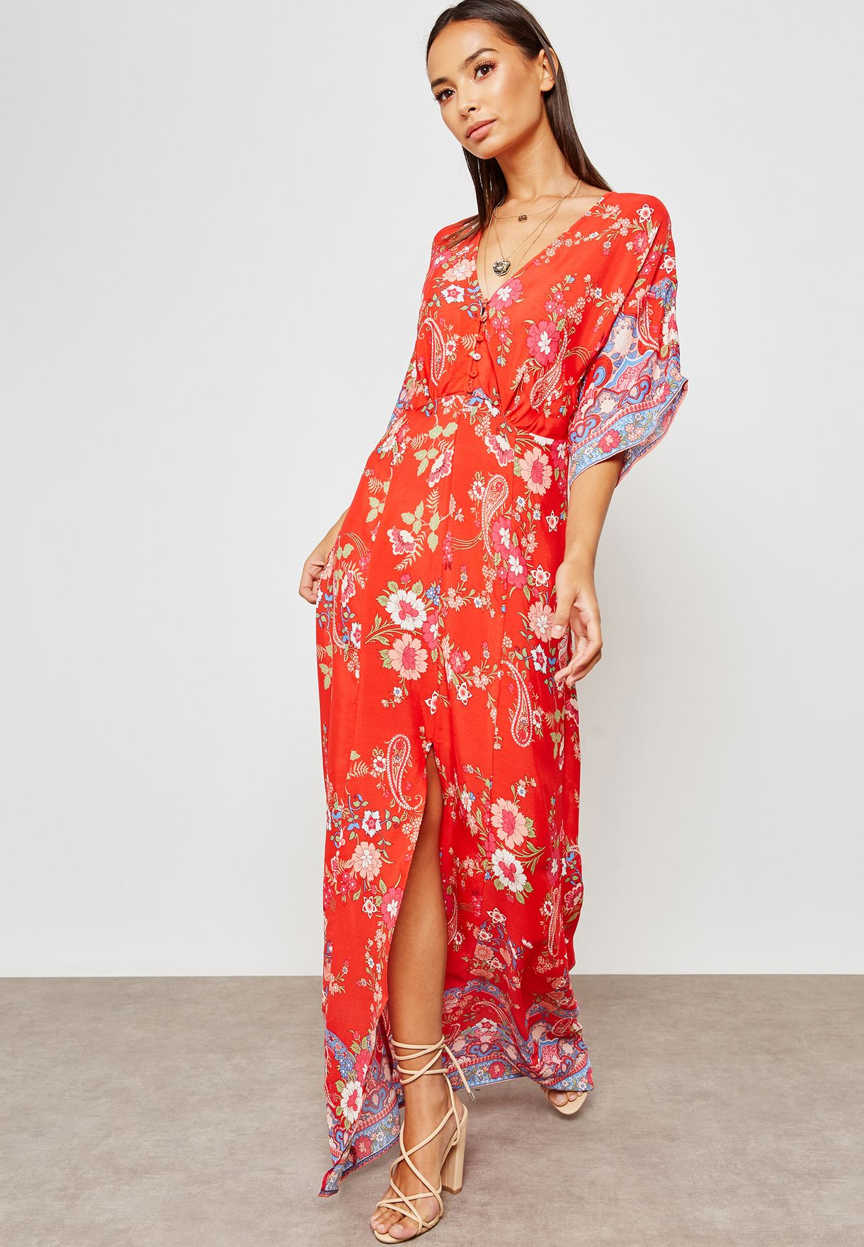 58834a55f Shop Miss Selfridge prints Printed Button Detail Kimono Maxi Dress ...