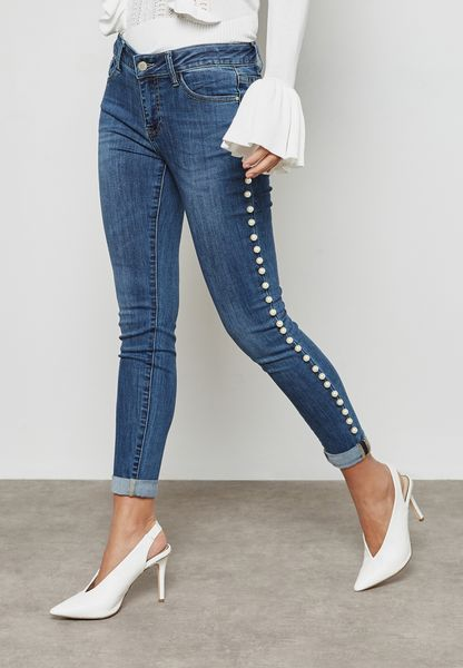 Pearl Side Skinny Jeans