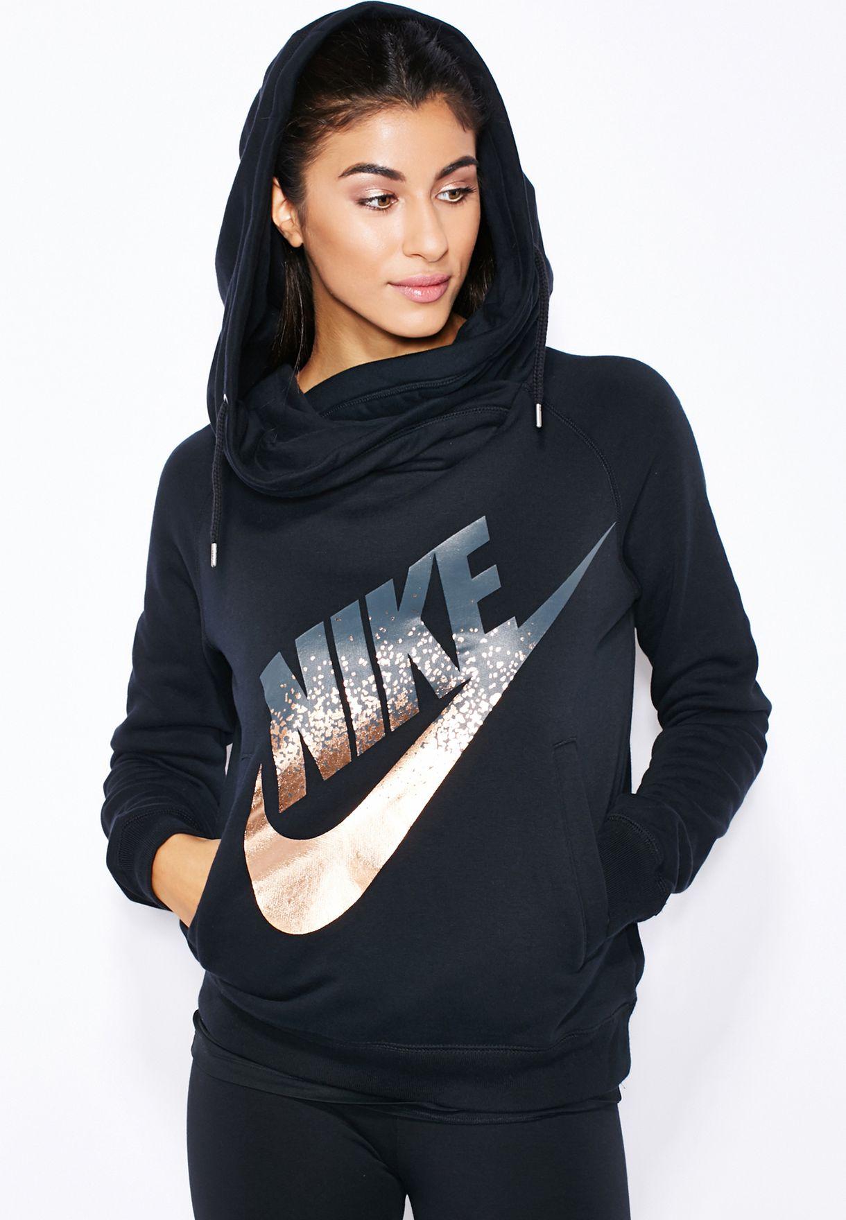 550dbf46fa0f Shop Nike black Rally Funnel Metal Hoodie 684135-010 for Women in ...