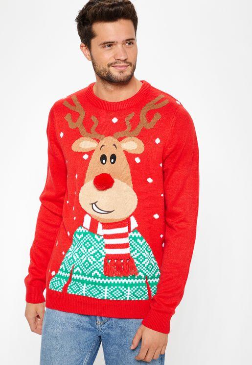 Reindeer Print Sweater