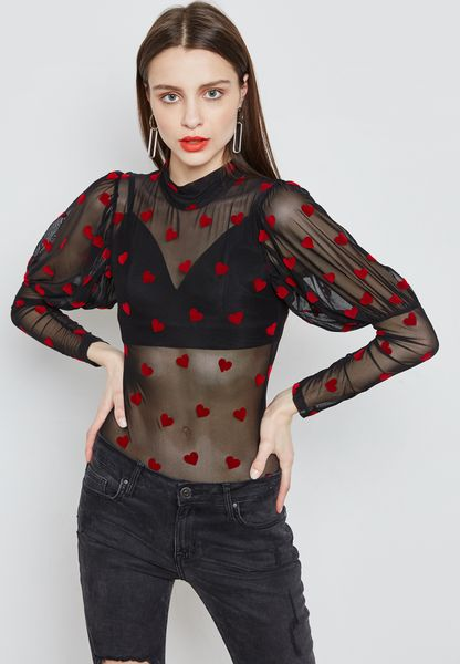 Heart Embroidered Sheer Body
