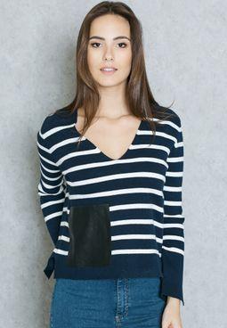 Striped PU Pocket Sweater