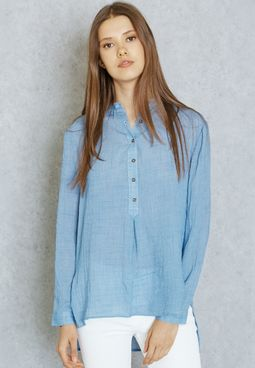 Forever 21 High Low Placket Shirt