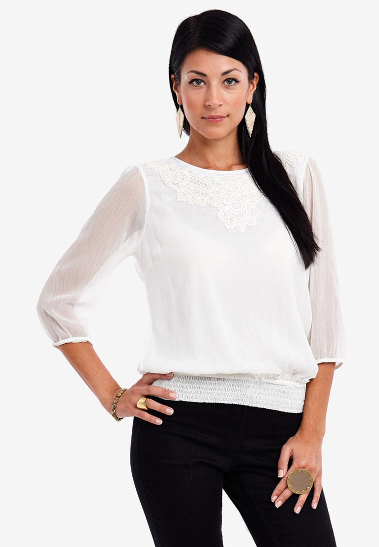 1f86522389990 Shop Vero Moda white Billie Marie Smock Top for Women in Bahrain ...