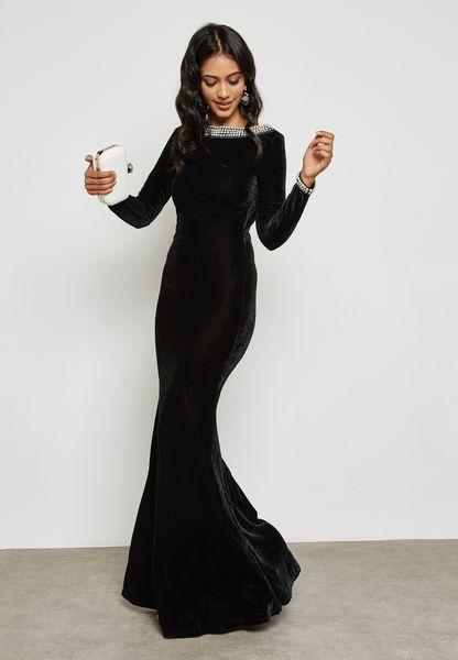 Velvet Pearl Trim Low Back Dress