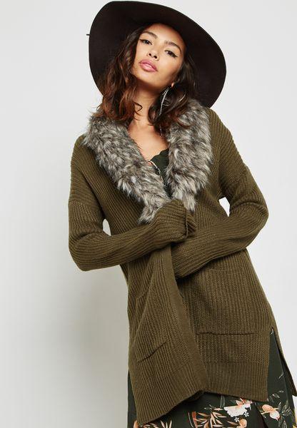 Detachable Faux Fur Coatigan