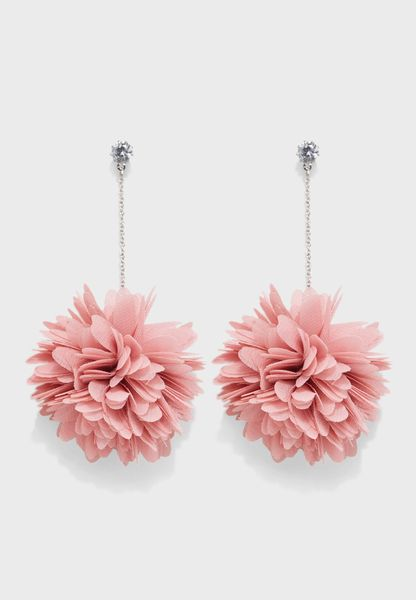 Flower Pom Drop Earrings