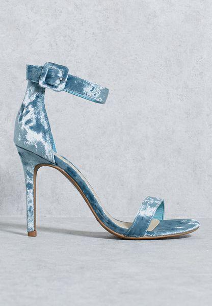 Velvet Ankle Strap Heel