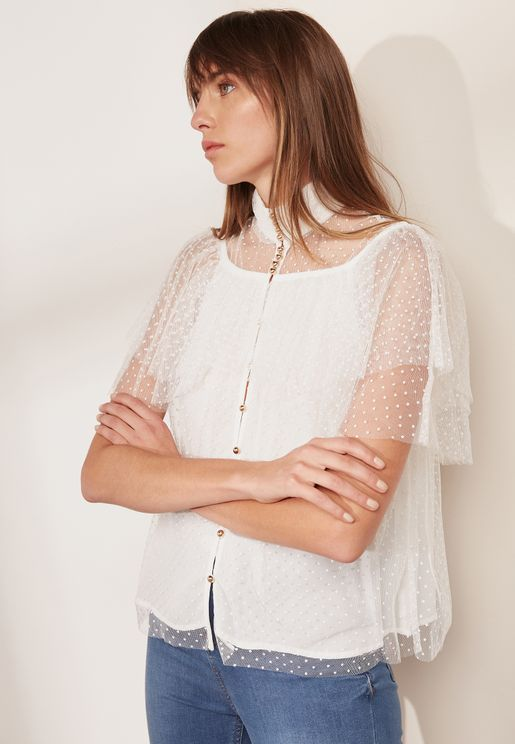 Button Detail High Neck Lace Top