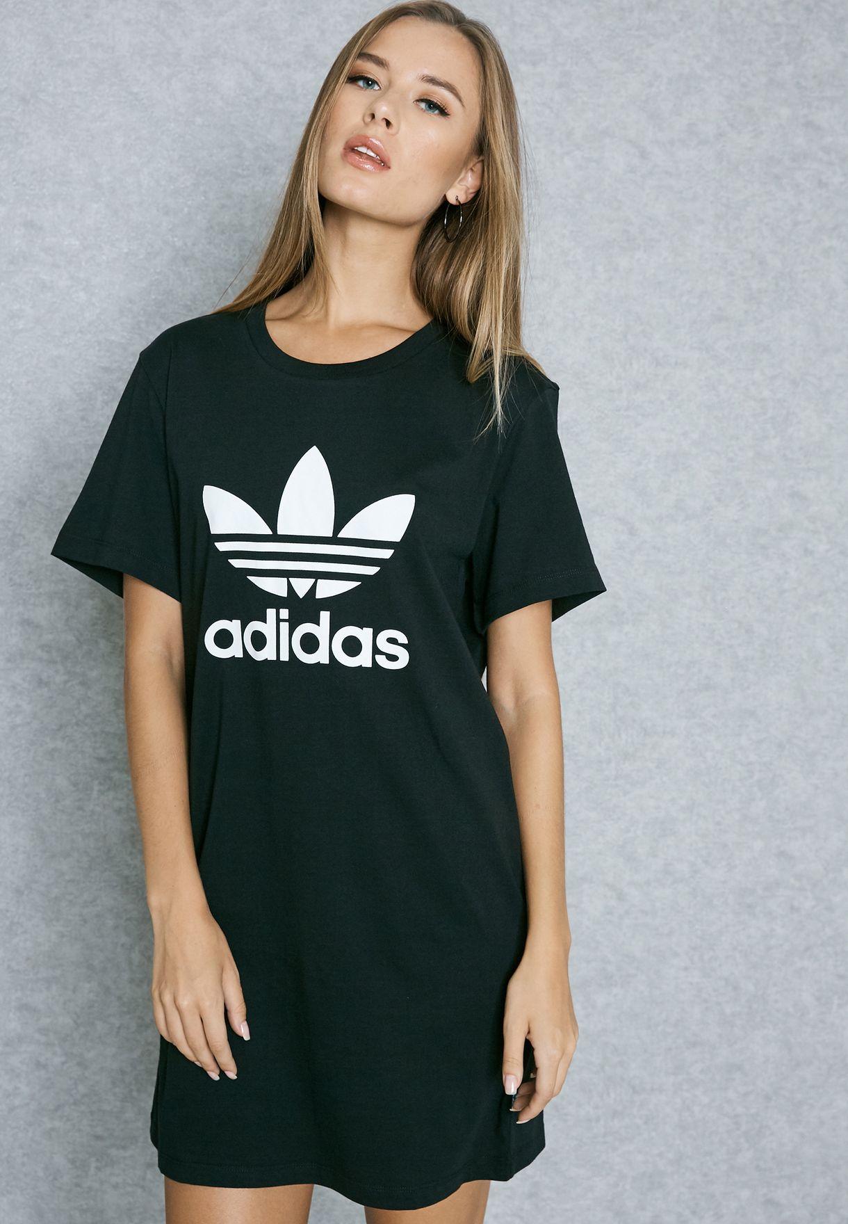 18e9d26d4e6c Shop adidas Originals black Trefoil T-Shirt Dress AY8123 for Women ...