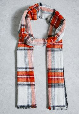 Red and White Check Scarf