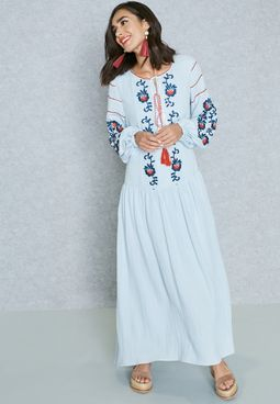 Embroidered Tie Neck Dress