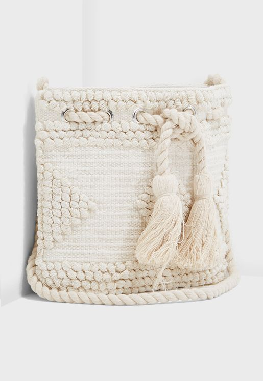 Geo Tassel Bucket Crossbody