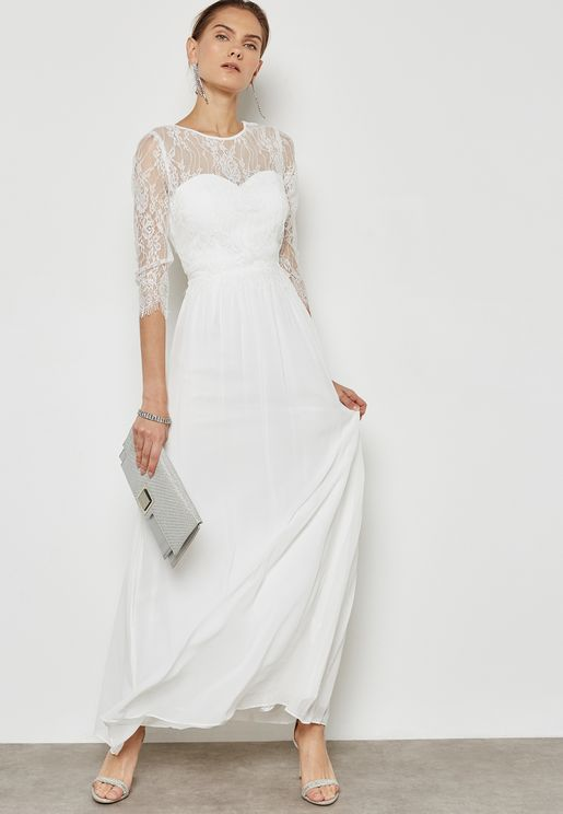 Lace Detail Pleated Maxi Dress