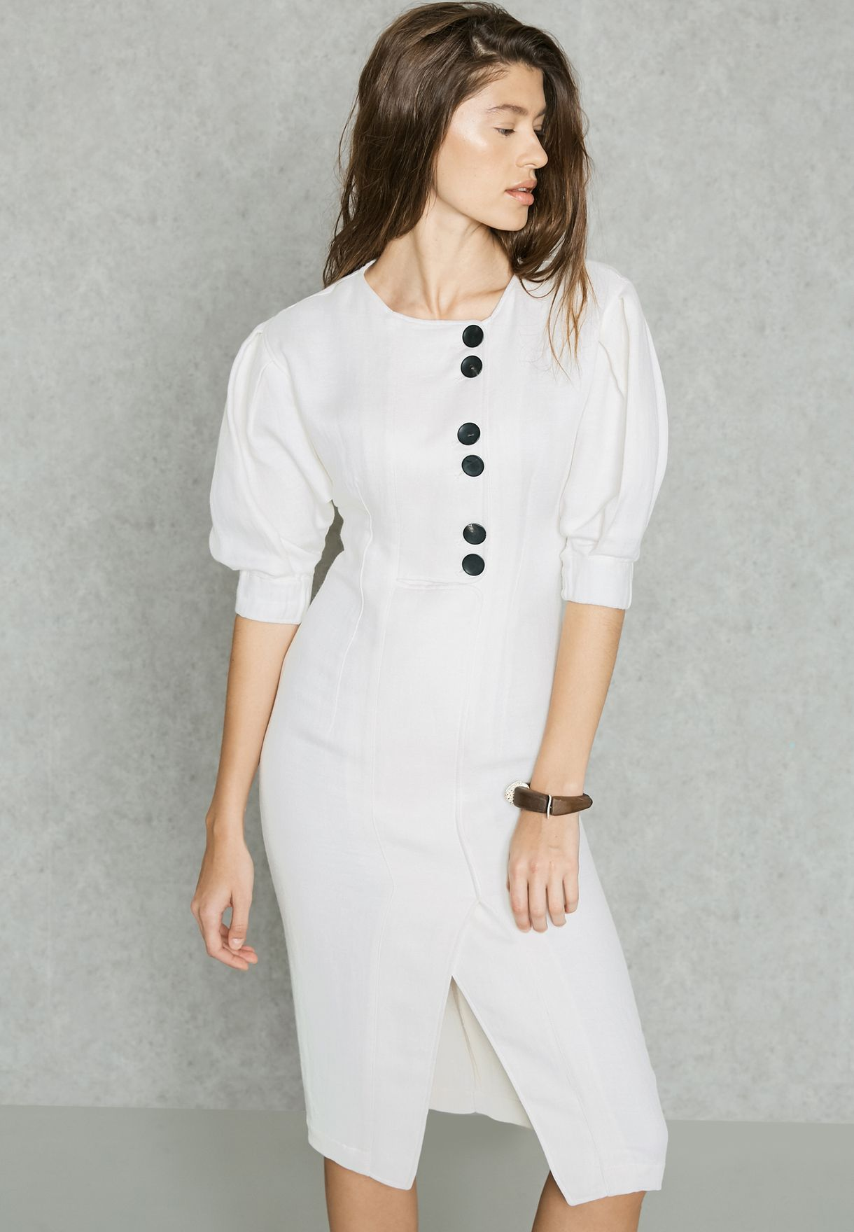 1265e697467 Shop Mango white Committed Button Detail Dress 81095614 for Women in ...