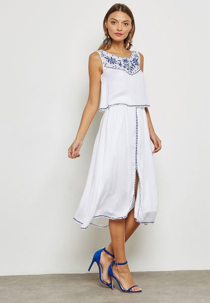 Front Split Contrast Dress