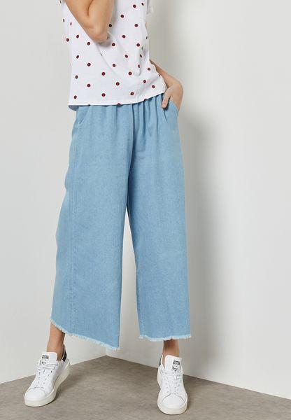 Raw Hem Wide Leg Denim Pants