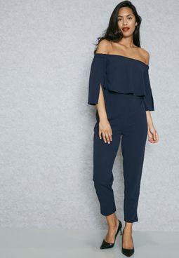 Overlay Bardot Slit Sleeve Jumpsuit