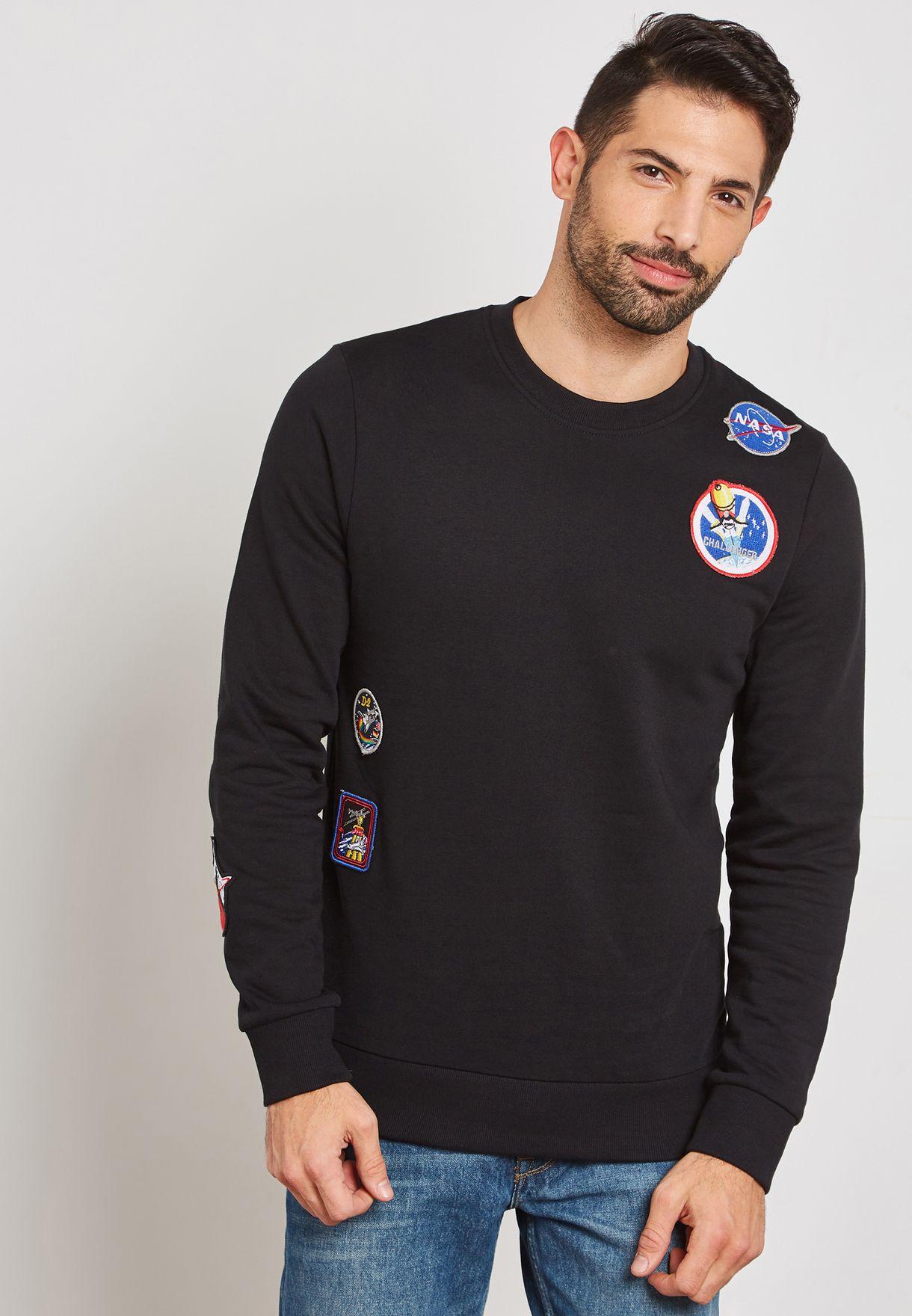 3293dc11bb7163 Shop Jack Jones black Nasa Sweatshirt 12140357 for Men in UAE ...