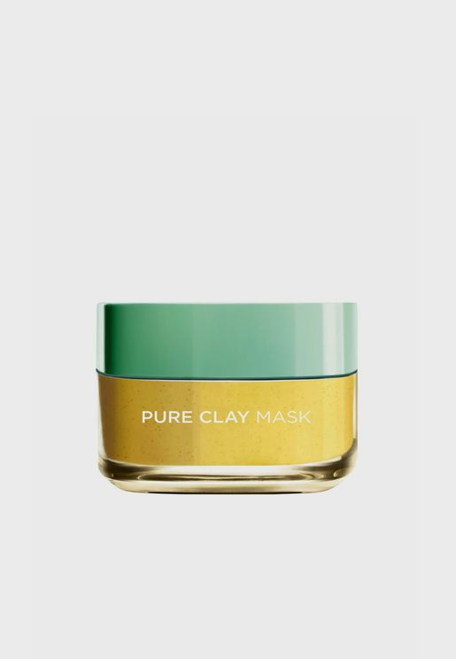 Pure Clay Yellow Mask With Yuzu Lemon, Cleanses And Even Skin Tones, 50 Ml