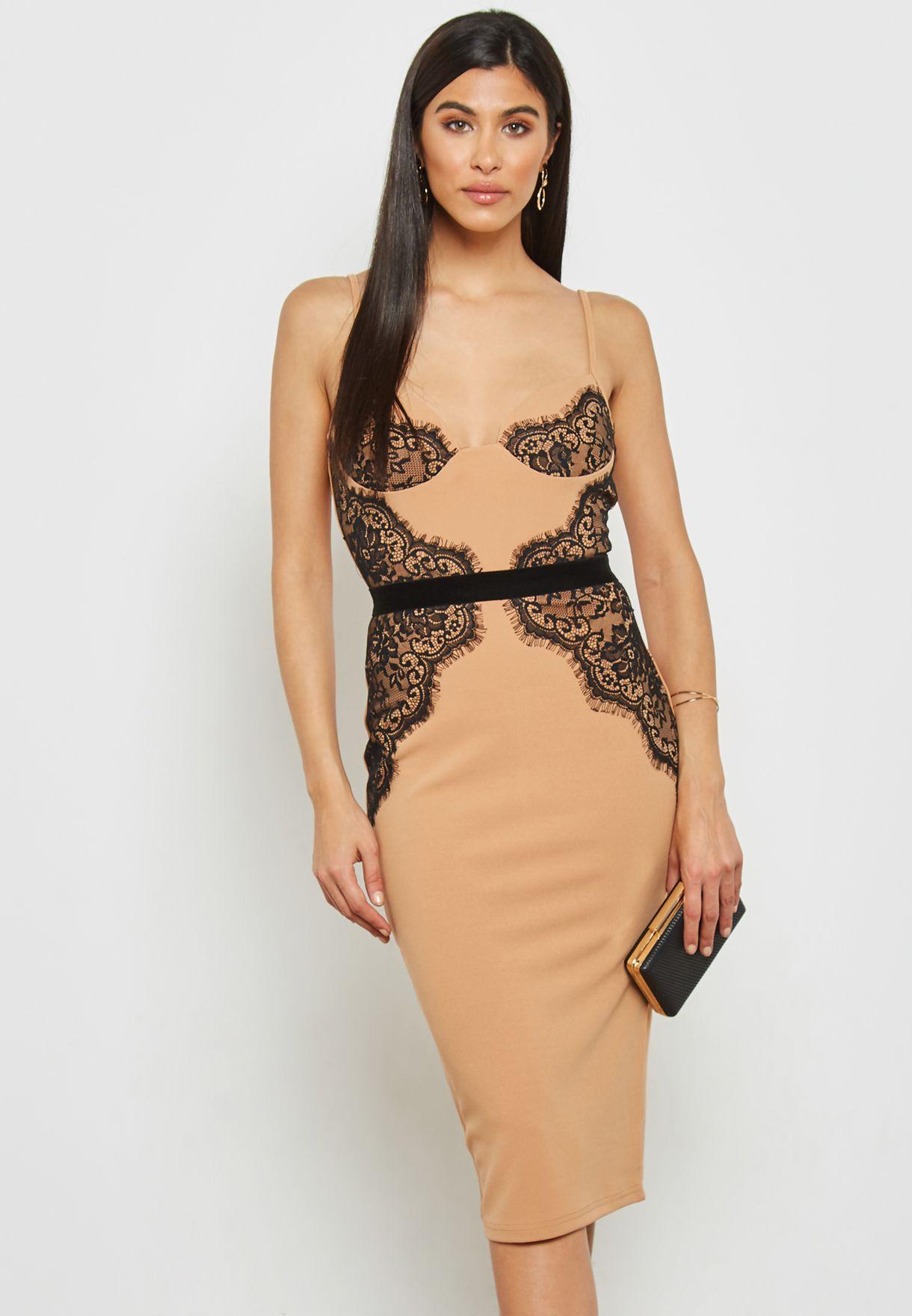 f5a0cf872366 Shop Quiz beige Lace Detail Midi Dress 00100016767 for Women in UAE ...