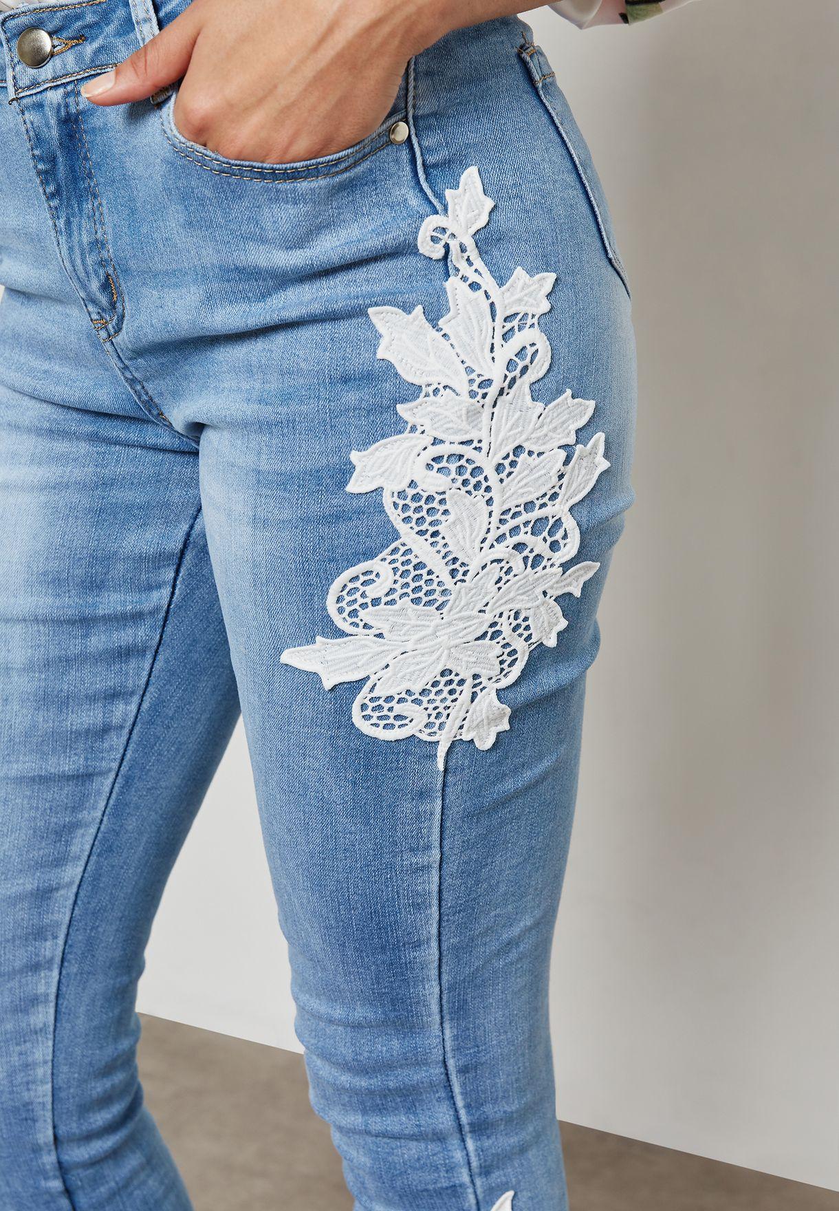 Crochet Trim Skinny Jeans