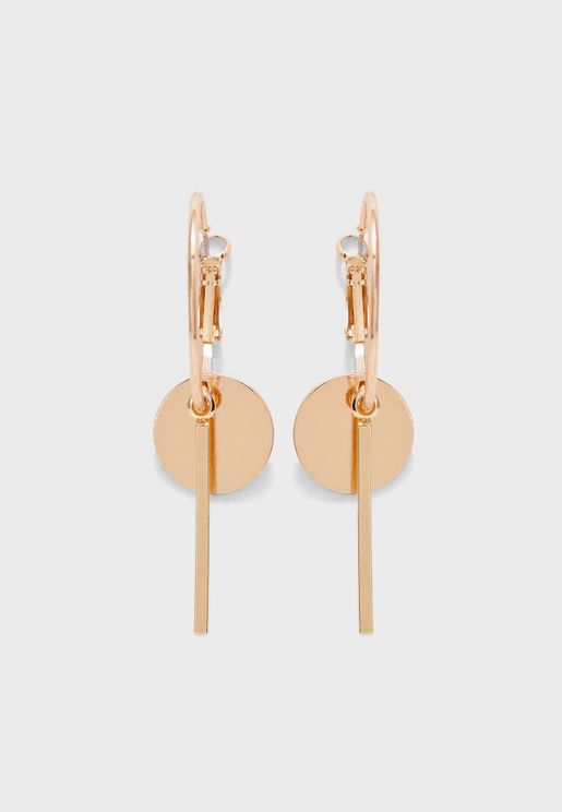 Hanging Metal Bar And Disc Earrings