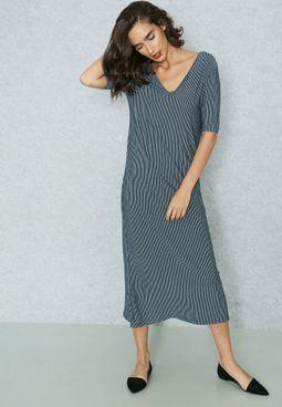 Back Slit Midi Dress